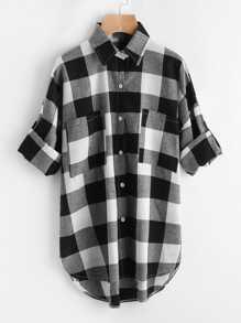 Rolled Sleeve Checked Dip Hem Shirt