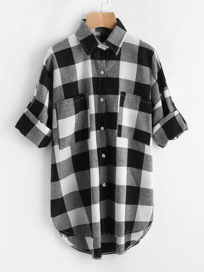 Rolled Sleeve Checked Dip Hem Shirt