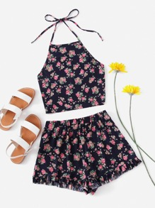 Ditsy Print Crop Halter Top With Frill Hem Shorts