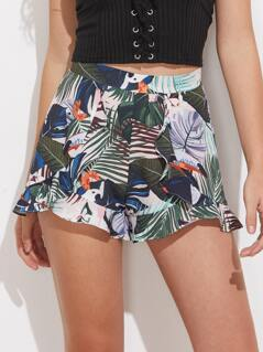 Ruffle Trim Tropical Wrap Shorts