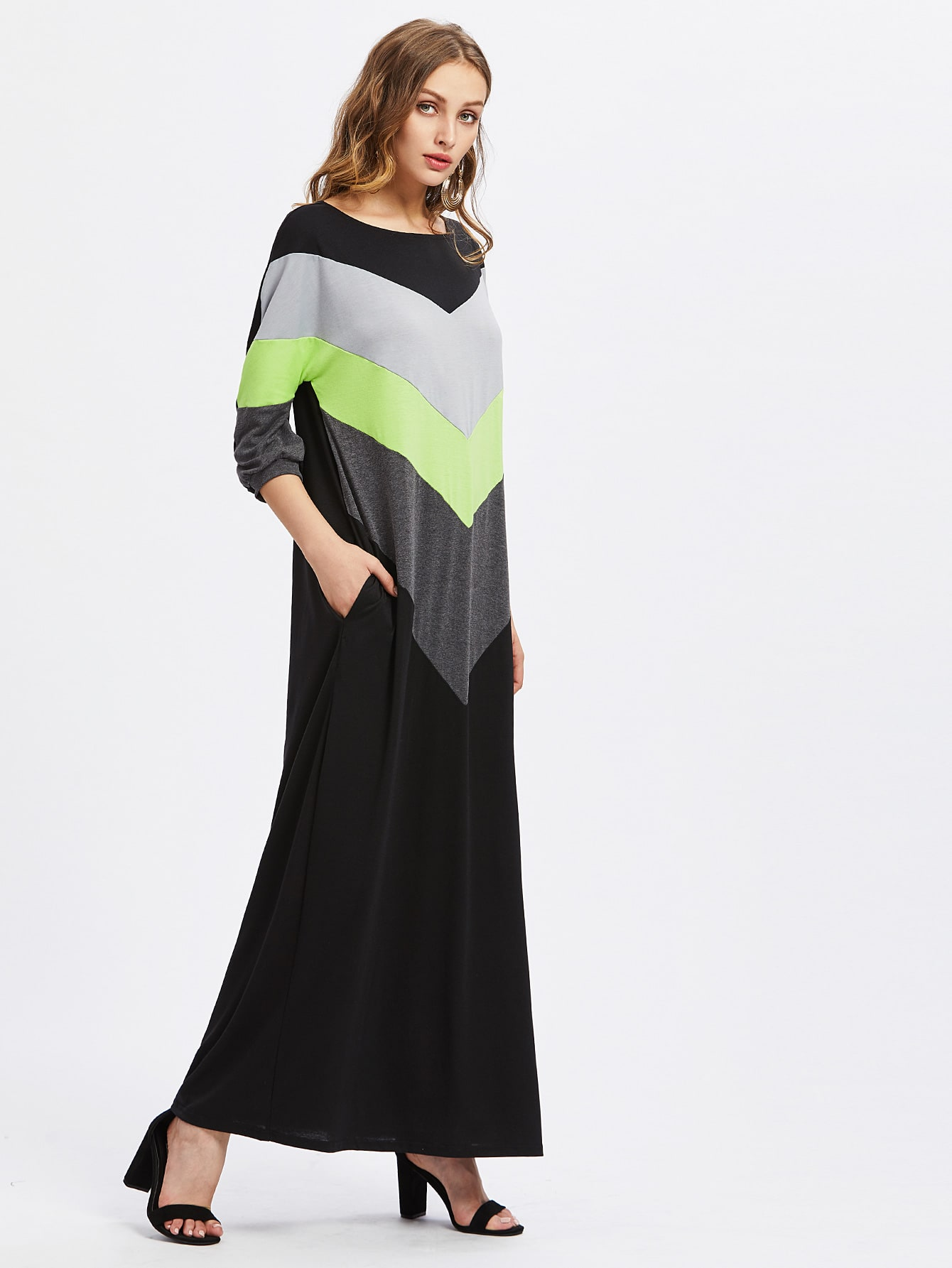 Фото Contrast Cut And Sew Chevron Full Length Dress. Купить с доставкой