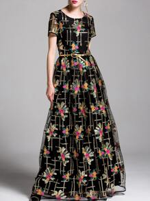 Flowers Embroidered Sequined Maxi Dress