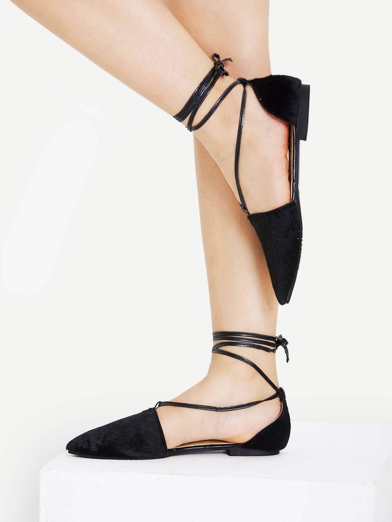 Фото Faux Fur Decorated Tie Leg Flats. Купить с доставкой