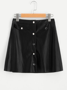 Buttoned Front Faux Leather Skirt