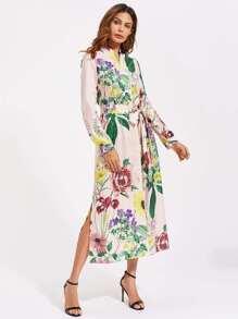 Self Belted Side Slit Floral And Striped Shirt Dress
