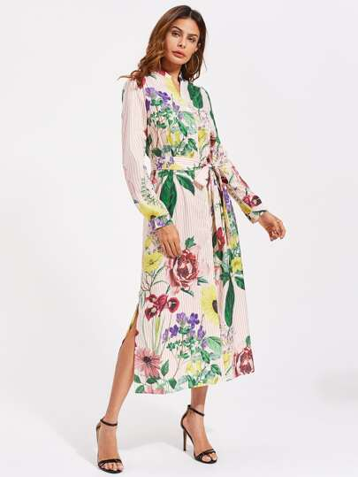 Self Belted Side Slit Floral And Striped Shirt Dress