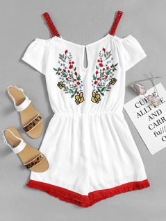 Contrast Lace Detail Keyhole Front Embroidered Romper