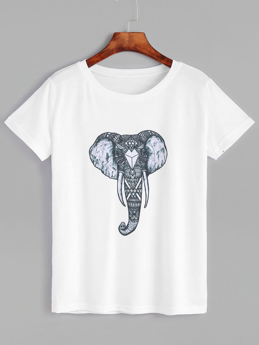 White Elephant Print Short Sleeve T Shirt