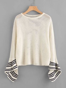 Striped Split Bell Sleeve Loose Knit Jumper