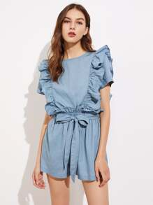 Self Belt Elastic Waist Ruffle Detail Chambray Romper