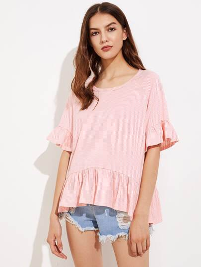 Raglan Sleeve Flounce Trim Striped Tee pictures