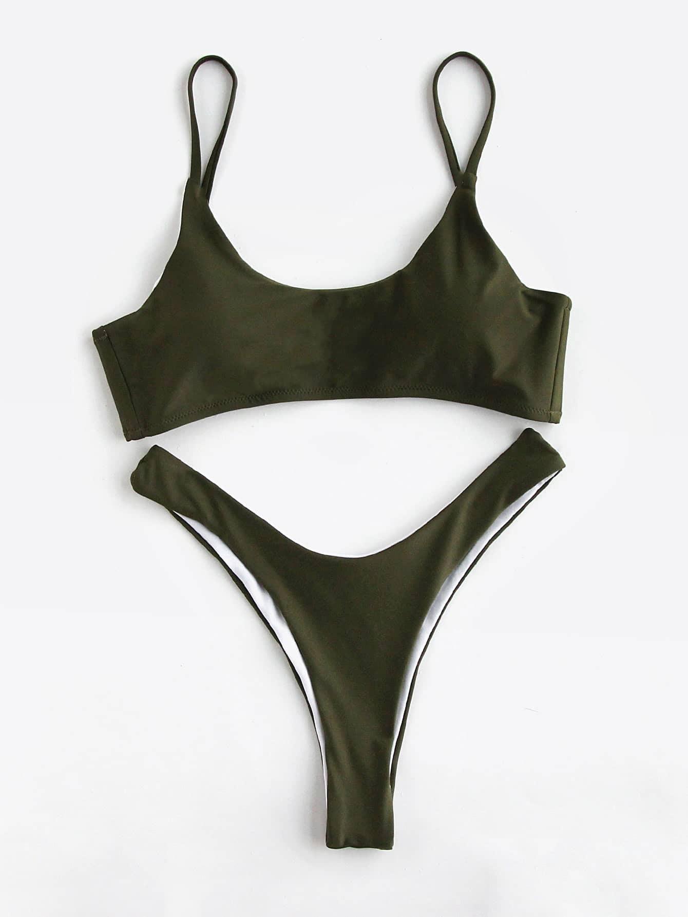 Фото Army Green High Leg Bikini Set. Купить с доставкой