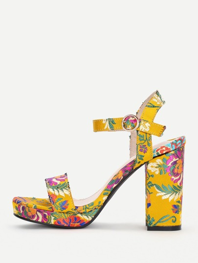 Calico Embroidery Block Heeled Sandals
