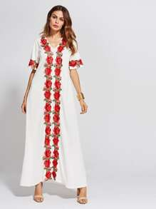 Embroidery Applique Full Length Dress