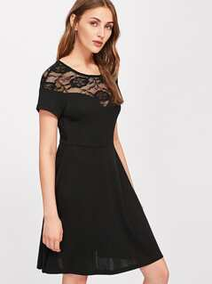 Illusion Lace Sweetheart Fit & Flare Dress