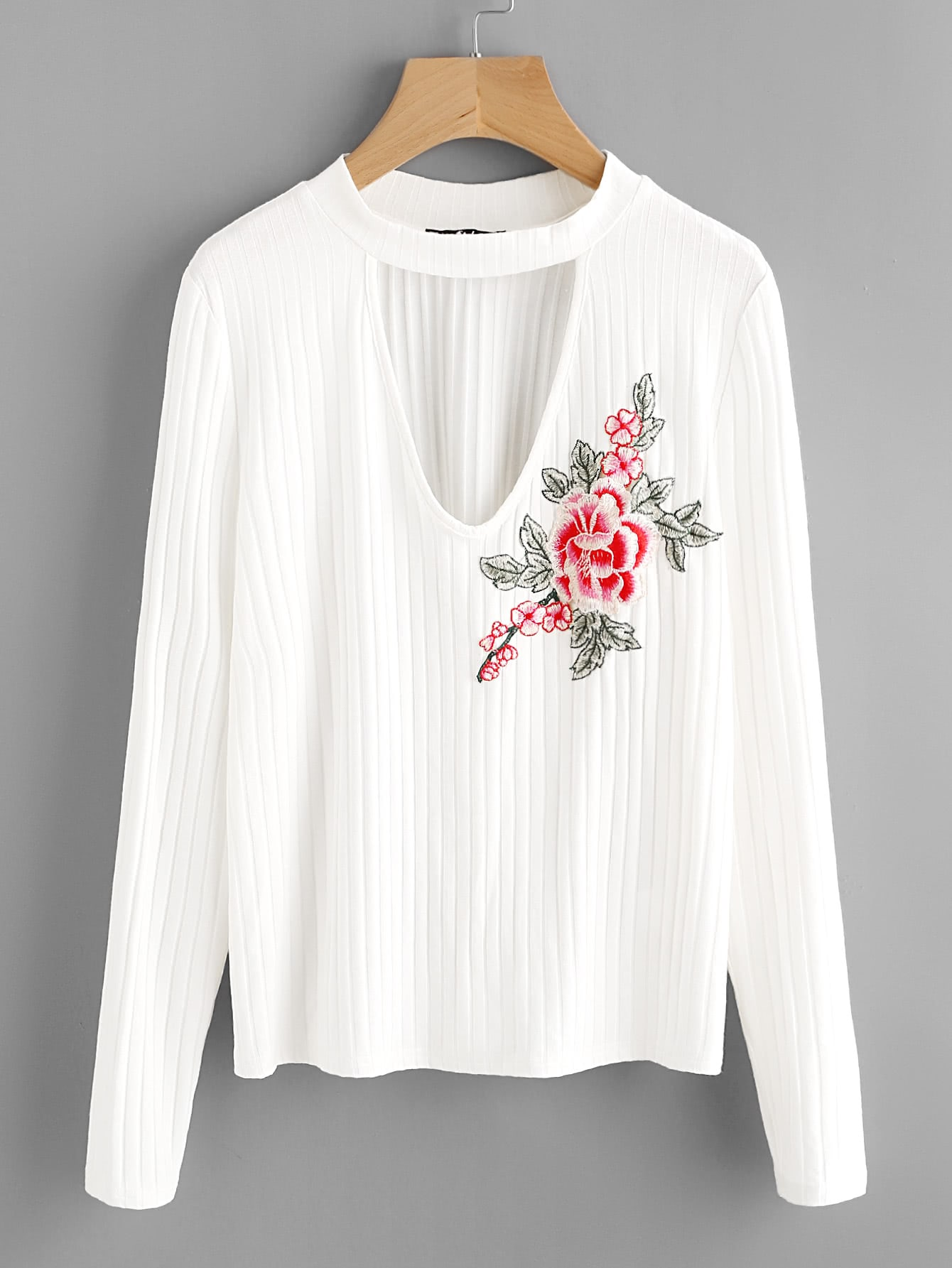 Flower Patch Choker Neck Rib Knit Tee