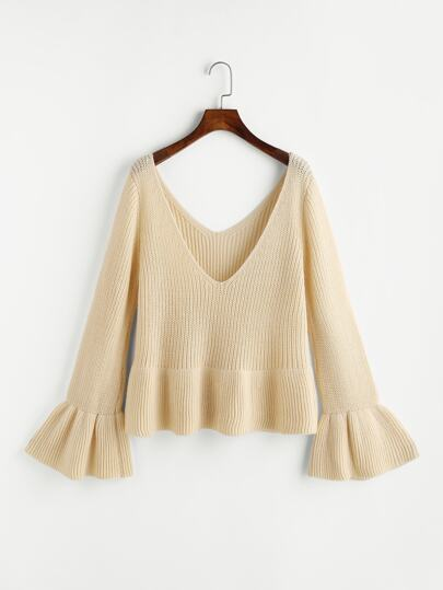 Pull-over manche papillon col en double V