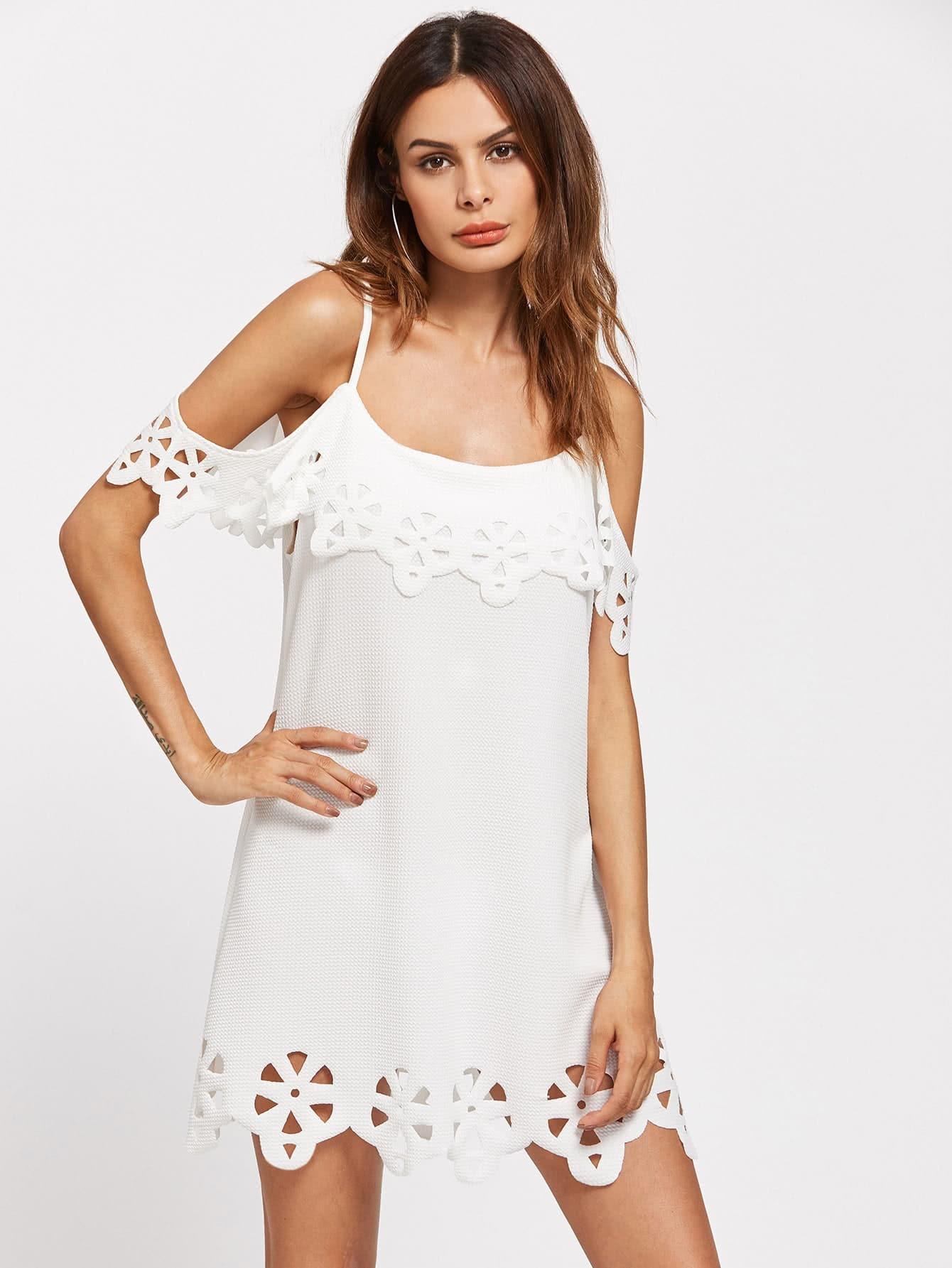 Фото Flounce Layered Laser Cut Textured Dress. Купить с доставкой