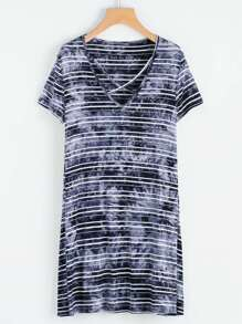 Criss Cross Tie Dye Stripe Swing Dress