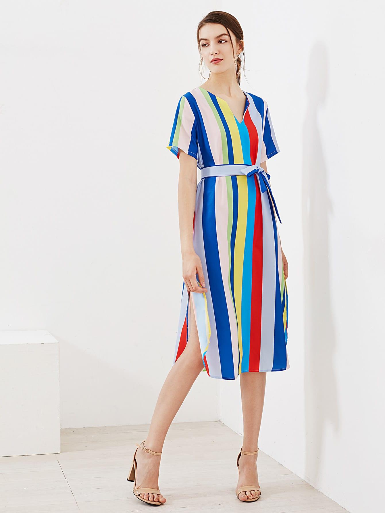 Фото Rainbow Striped V Cut Slit Side Dress. Купить с доставкой
