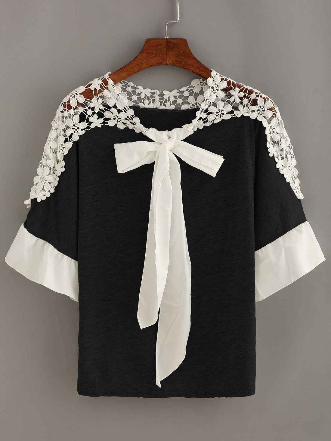 Contrast Crochet Trim Bow Tie Neck Top lace crochet contrast tie waist coat