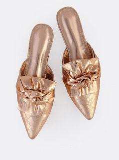 Crushed Metallic Loafer Slides ROSE GOLD