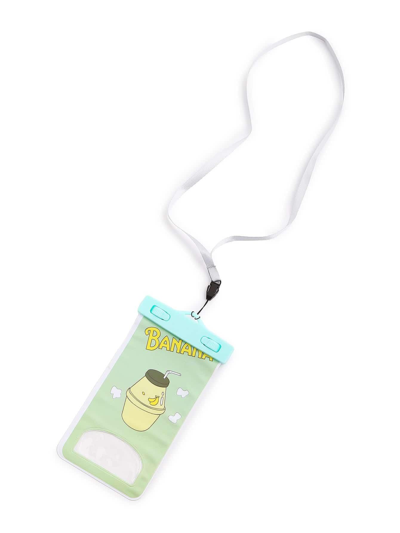 Фото Letter And Cup Print Waterproof Phone Pouch. Купить с доставкой
