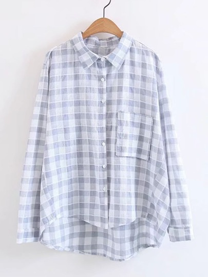 High Low Gingham Blouse