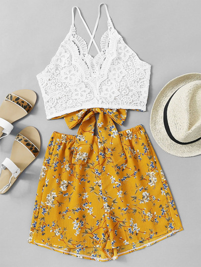 Lace Panel Criss Cross Knot Back Cami Top With Florals Shorts
