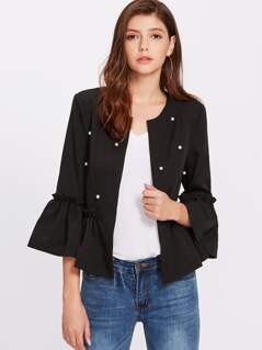 Pearl Beaded Trumpet Sleeve Frilled Hem Blazer