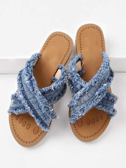 Raw Trim Cross Strap Denim Slip On Sandals