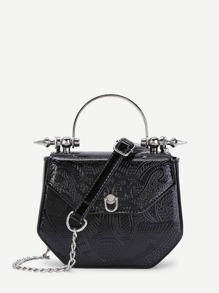 Metal Detail PU Chain Crossbody Bag