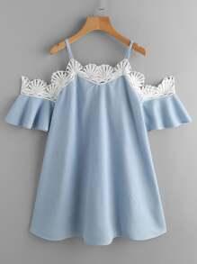 Contrast Crochet Trim Dress