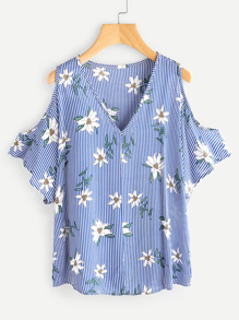 V Neckline Open Shoulder Vertical Striped Florals Top