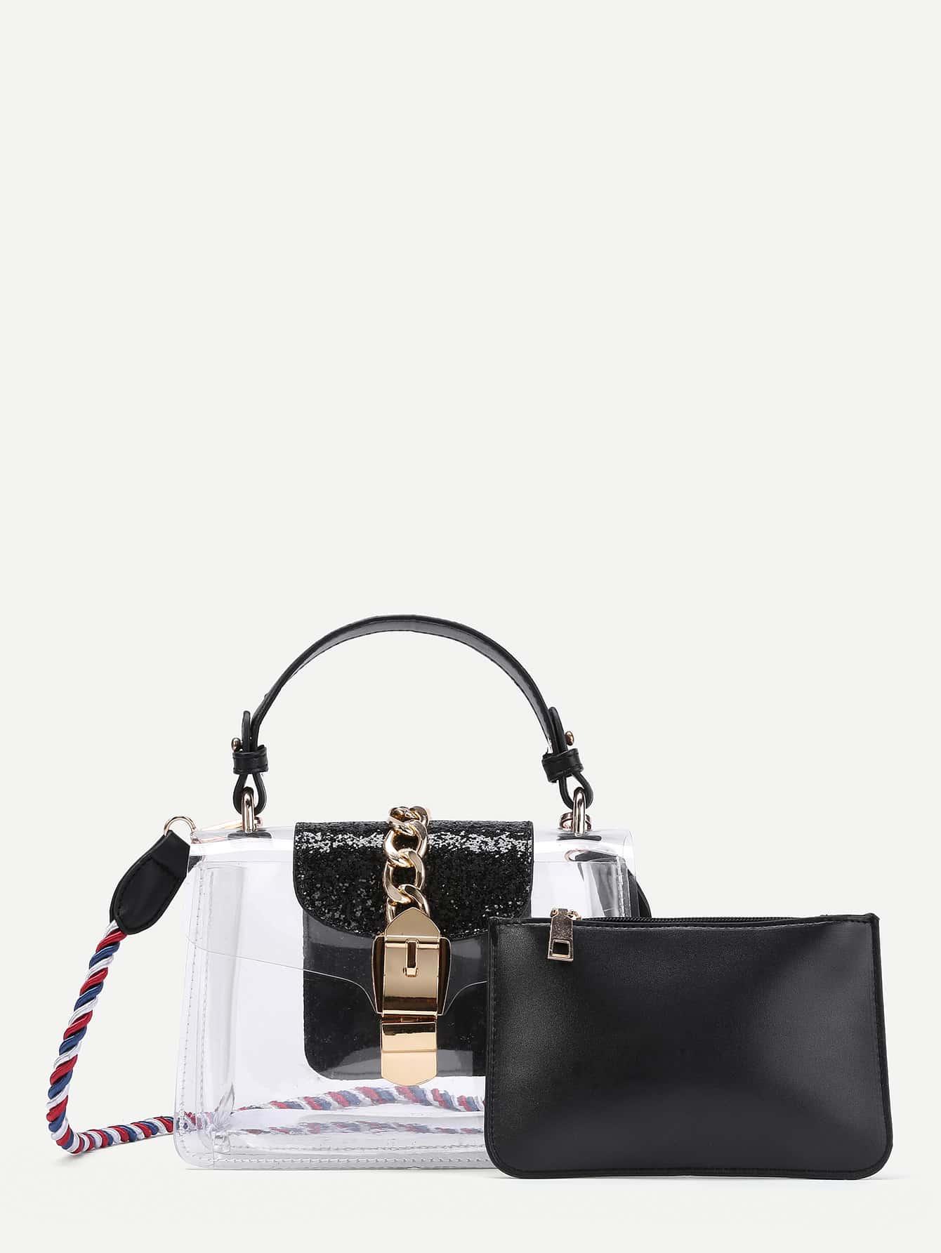 Фото Sparkling Detail Clear Grap Bag With Clutch. Купить с доставкой