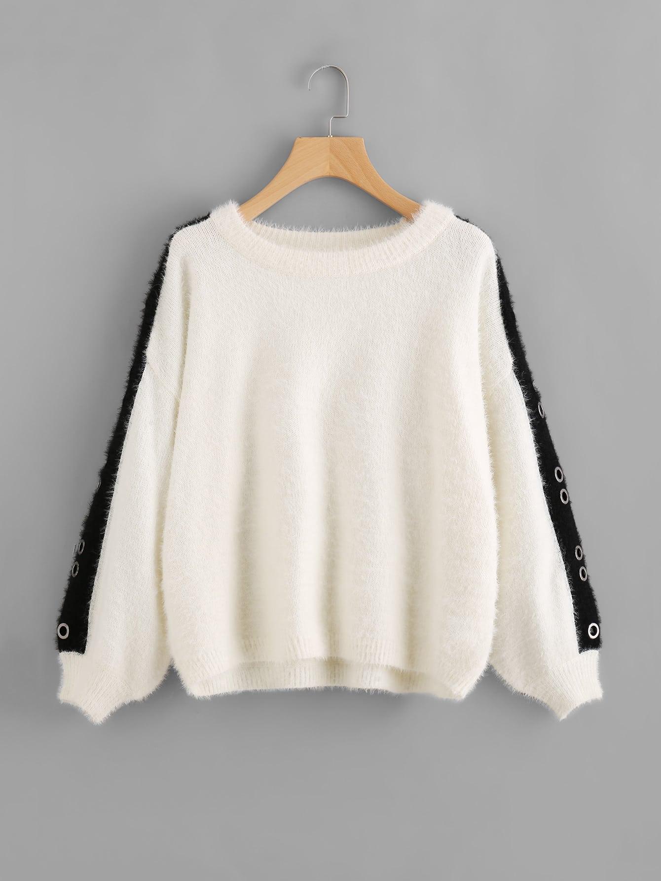Grommet Detail Contrast Panel Fuzzy Jumper sweater170710466