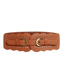 Double Buckle Cut Out PU Belt