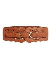 Double Buckle Cut Out PU Belt