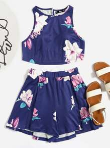Flower Print Crisscross Crop Tank And Pleated Shorts Co-Ord