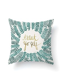 Leaf Overlay Print Pillowcase Cover