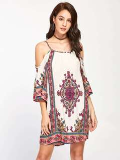 Ornate Print Kimono Sleeve Dress