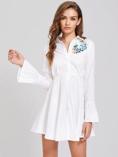 Flower Patch Fluted Sleeve High Waist Shirt Dress