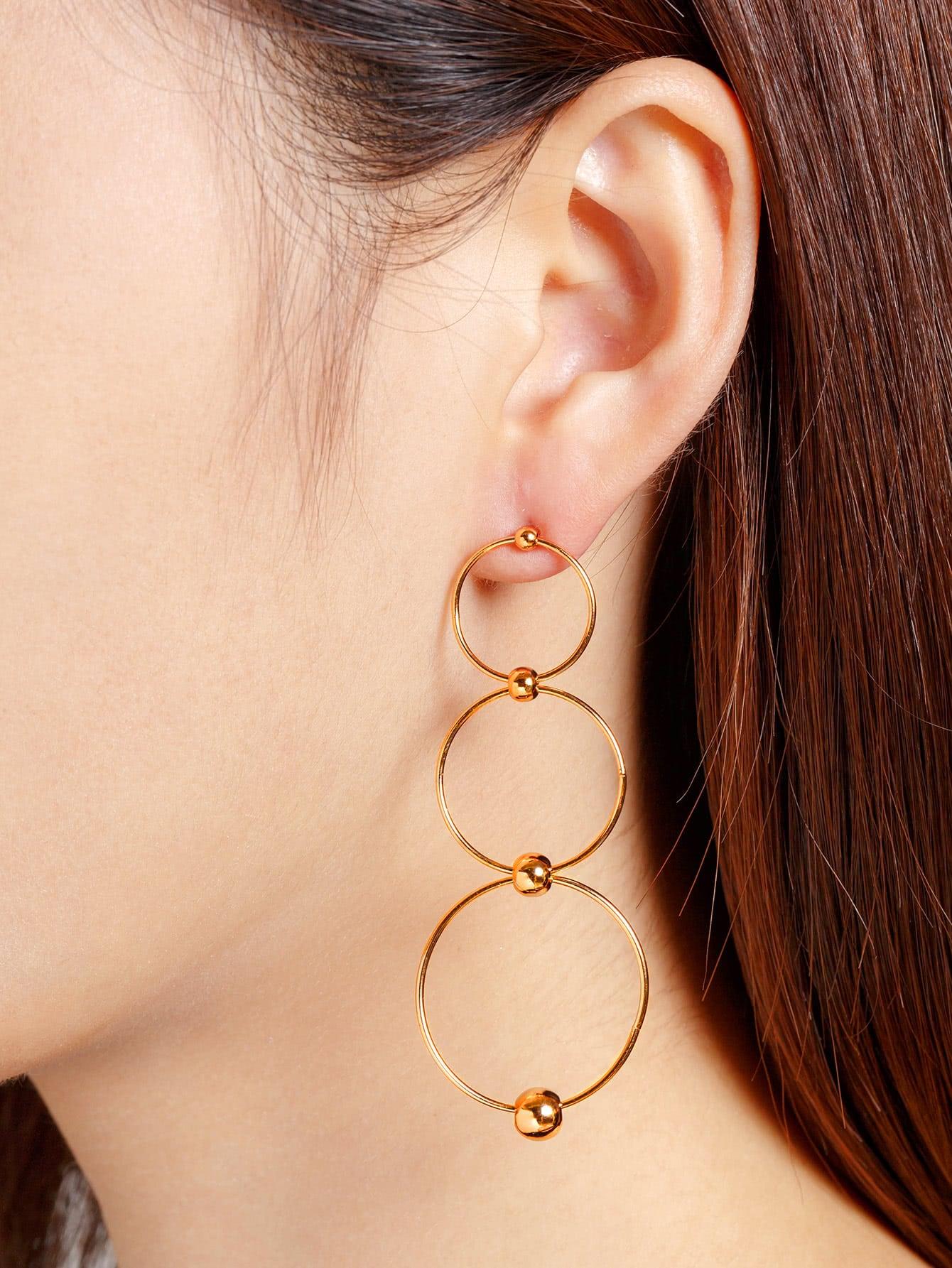 Фото Circle Connected Drop Earrings. Купить с доставкой