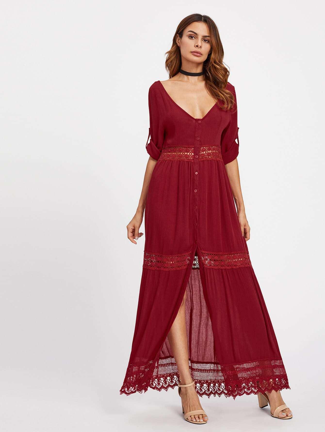 Фото Double Plunge Neckline Split Front Lace Insert Dress. Купить с доставкой