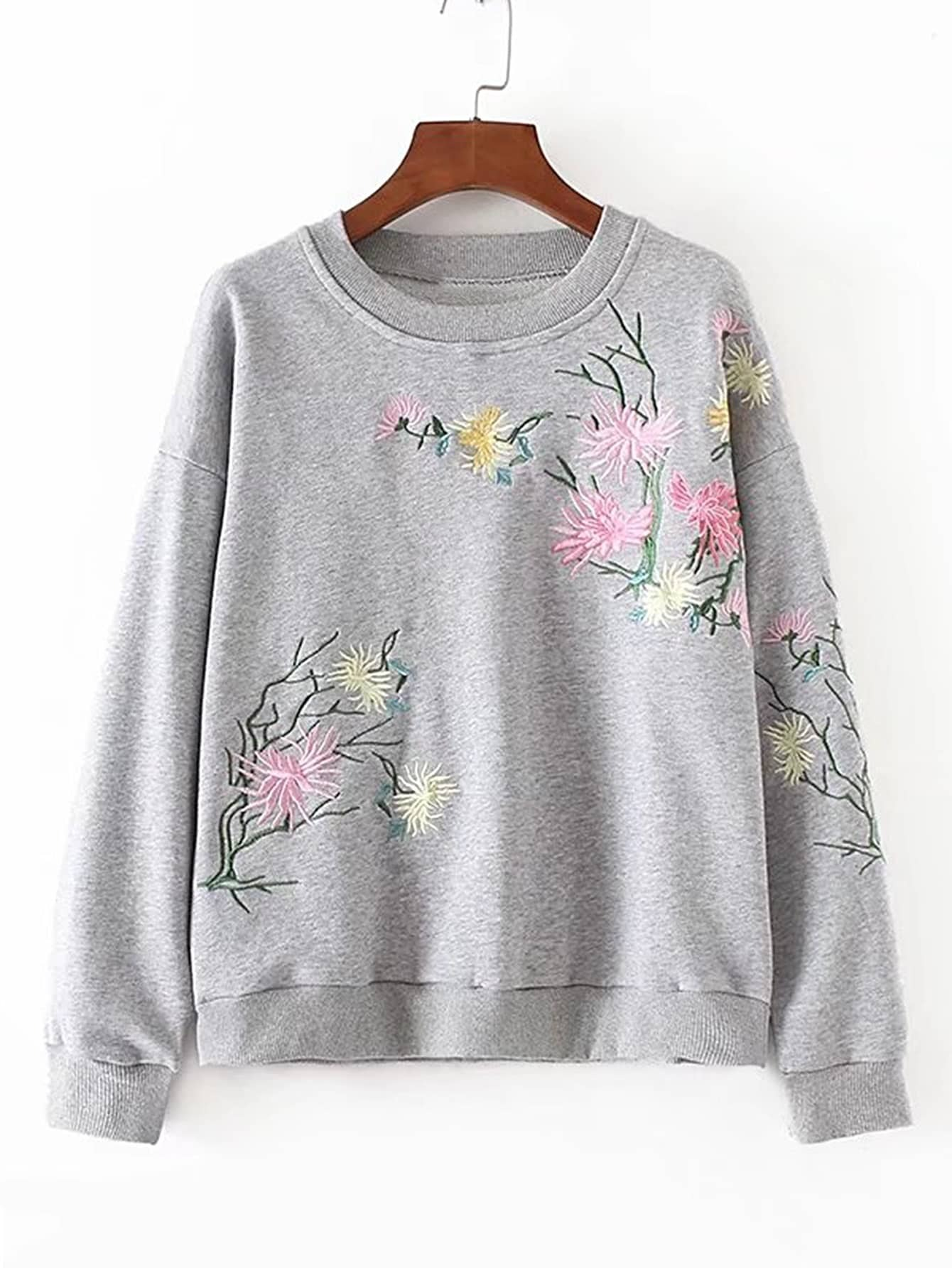 Drop Shoulder Flower Embroidery Sweatshirt drop shoulder frill hem batwing sweatshirt