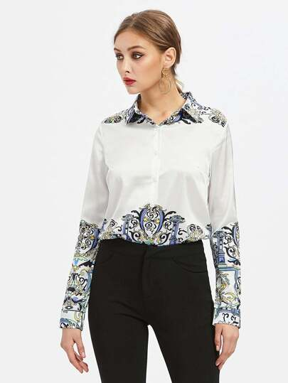 Aztec Print Point Collar Shirt
