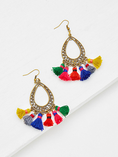 Multi Tassel Water Drop Shaped Earrings