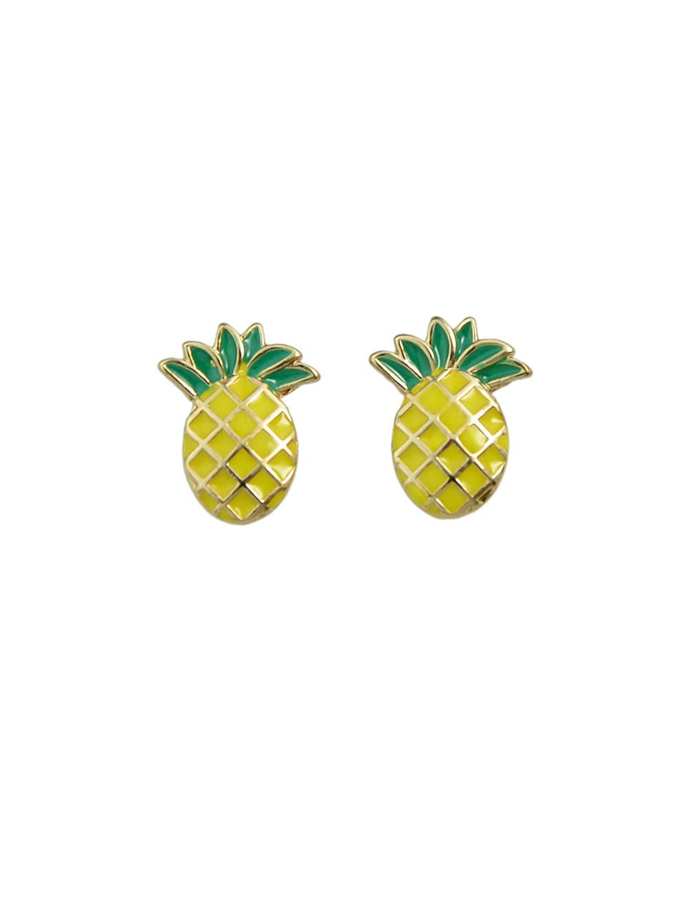 Colorful Enamel Pineapple Shape Small Ear Studs
