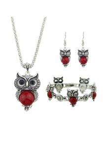 Red Color Antique Silver Imitation Turquoise Owl Shape Necklace Earrings Bracelet Set