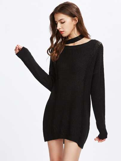 Choker Neck Ladder Detail Jumper